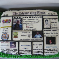 "50Th Birthday A ""newspaper"" cake. 11x15 chocolate cake torted with german chocolate filling. Edible images for pictures and writing. TFL"