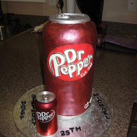 Dr. Pepper Birthday First try with a cake this tall (13 inches). Lots of mistakes, but at least it's still standing! Added the real can for size...