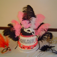Sweet Sixteen Masquerade Yellow, chocolate and strawberry cakes with fondant