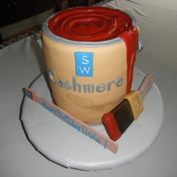 Paint Can Cake   Paint Can Cake with paint brush and stir stick made out of fondant/gumpaste