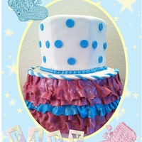 Gender Reveal Cake Top is blue inside and the bottom is pink. She was having twins and didn't know the sex of the babies until she cut into each tier.