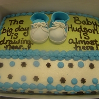 Baby Boy Tennis Shoes   1/4 sheet cake with buttercream decorations and fondant baby sneakers