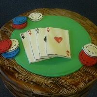 "Poker Table Cake 12"" round. Fondant covered and embossed with woodgrain pattern. Fondant cards and poker chips"