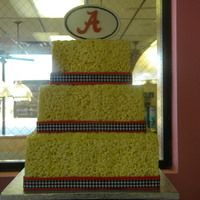 Rice Krispies Cake   3 tier square made with RKT. LOVE this cake. Hands down, my new favorite!
