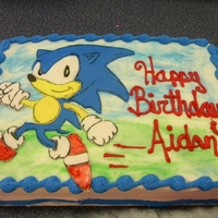 Sonic The Hedgehog Cake  1/4 sheet cake with fondant hand-drawn Sonic the Hedgehog. (I just really like doing fondant characters...which is weird because I cant...