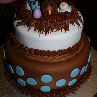"""let's Feather Their Nest"" Baby Shower cake, bottom tier Bacardi Rum Cake, top tier, chocolate cake"
