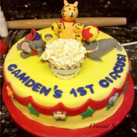 Camden's Circus  Lemon cake with raspberry filling. RKT animals covered in fondant and fondant popcorn. Thanks the the CC's for their inspiration! I...