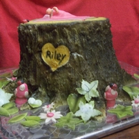 Baby Realtree Themed Cake Two tier choc/white cake covered in buttercream then airbrushed. Leaves, baby, blanket and all 3-d figures made of marshmallow fondant.