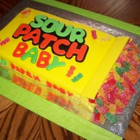 Sour Patch Baby Sour Patch cake..covered in fondant and using the real sour patch kids as part of decorations