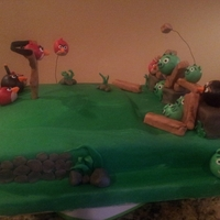 Angry Birds Cake   angry birds cake all the figures are made with fondant.