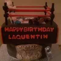 Wrestling Cake  wrestling men were made from fondant i may invest in molds next time but happy with the outcome and i used wooden dowls for the rope and...