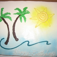 Tropical Breeze Birthday Ocean wave surrounding palm trees