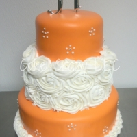 3 Tiered Wedding   Fondant and BC. This was my first attempt at BC swirl roses.