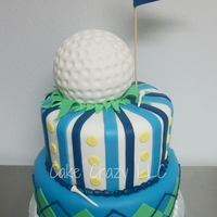 Golf Golf themed with rice crispy golf ball topper covered with fondant.