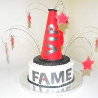 Fame Cheer cake for an 8 year old. Cake was decorated to match her uniform.