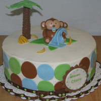 "Jungle Monkey Baby Shower 10"" WASC cake with fresh strawberry and cream filling, iced in buttercream with fondant decorations-including monky and tree."