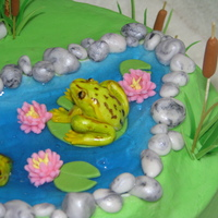 "Frog Pond 8"" WASC cake filled with banana cream, buttercream iced. Fondant decorations. The frogs are sculpted of fondant/gumpaste mix and hand..."