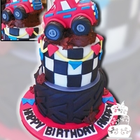 Monster Truck 6Th Birthday   Design inspired by many similar ones the client found on the web. Truck topper made from cereal treats and fondant.