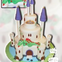 Castle Dragon   for a 1st and 3rd birthday combo, fondant castle with friendly dragon :)