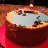 Gone Fishing!  I made this cake for my brother-in-law who loves to go fishing with his 6 pack of Bud Light. Chocolate Cake with Ding Dong Filling and...
