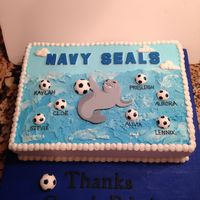 Navy Seals For The Win!!!  I made this cake for the end of the season party for my daughter's soccer team. Chocolate cake with chocolate mousse and Oreo filling...