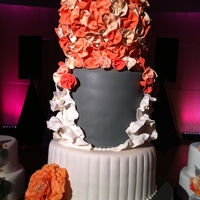 Ribbon Roses And Ruffles This was the main cake and it was surrounded by satellites. All of them were extremely different, but tied in with the same color scheme....