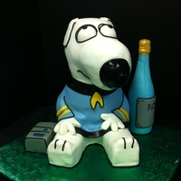 Brian The Dog Star Trek Officer Made from cake and rice cereal, ale bottle is chocolate