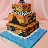 Ipanema Beach Wedding Cake Pipped and airbrushed - Ipanema Beach is a famous Brazilian beach located in the city of Rio de Janeiro where the next Olympic Games will...