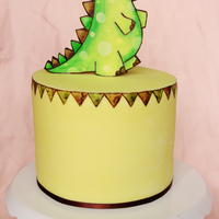 Dinosaur Cake Cute handpainted dinosaur cake :) Dinosaur inspired by Jane's Doodles stamp