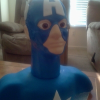 Captain America Bust is cake covered in fondant, head is styrofoam covered in fondant.