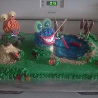 Monsters And Bugs Cake This cake was made for my twin nephew's 5th birthday. They wanted bugs and monsters and could'nt decide so we did both! The...