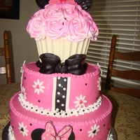 Pink & White Minnie Mouse Chocolate cake with buttercream frosting. All decorations made out of fondant. The cupcake wrapper is made of chocolate. The ears and bow...