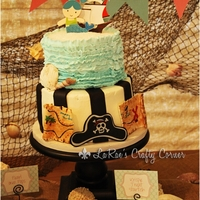 "Pirate Mermaid Under The Sea This cake was made for my Daughter and Sons joint birthday party. Pirates and Mermaids!! Bottom tier is an 8"" frosted with buttercream..."