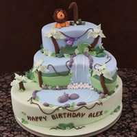 Jungle Cake Made to match jungle themed partyware. Bottom is oval tier with two paisley tiers on top.
