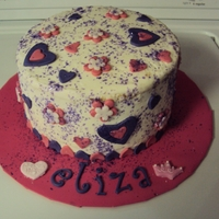 Purple & Pink Hearts   BUTTERCREAM WITH FONDANT ACCENTS & EDIBLE GLITTER