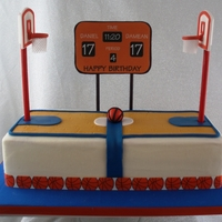 Basketball Court The backboard was made with gum paste and left to dry for several days. The pole is a dowel that I painted with gel food coloring and then...