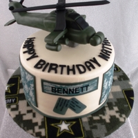 Army Apache Helicopter Army Apache Helicopter made of rice cereal treats. Edible images on the side of the cake.