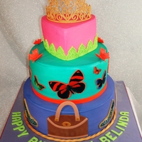 Tiara Birthday This cake was designed with the recipiants favorite things in mind. The butterflies, purse and shoes are edible images. I found the tiara...