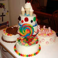 Candyland Cake Candyland themed cake for 5 kids with birthdays in May at a local shelter.