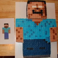 "Minecraft Cake HeroBrine Minecraft cake for a boy turning 8. Took forever to cut out all the squares to make the ""pixles"", but he turned out..."