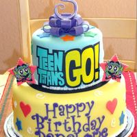 Birthday Cakes For Kids And Adults Teen Titans cake with fondant accessories and Icing Images appliques.