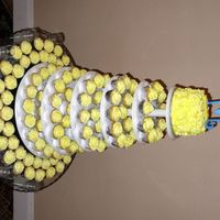 Cupcake Wedding Tower Yellow swirl cupcakes with buttercream icing.