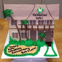 Hotel Replica Replicated facade of Hawaiian hotel from 60 years ago. Facade is krispie treats covered in fondant and gumpaste.