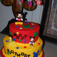 Mickey Mouse Mickey Mouse for very special little girl who loves to watch Mickey Mouse club house. White Almond cake with buttercream filling.