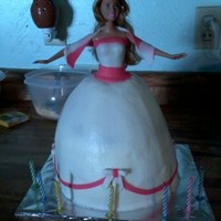 White And Pink Barbie Yet another barbie cake. lol I made this cake for a friends daughter who said she wanted a barbie cake in a white dress with pink. Its...