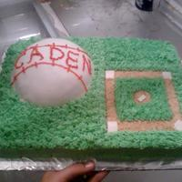 Baseball Cake I made this for a friends sons birthday. He just wanted a baseball themed cake. wasc cake, buttercream. Ball covered in fondant, dirt is...