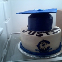 Graduation Cake I made this for a coworkers son who just graduated high school. Bottom is wasc cake and the hat is chocolate wasc cake. All buttercream....