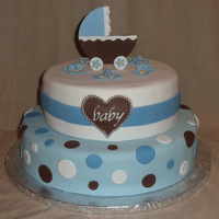 Baby Boy Shower Cake Baby Shower cake - Cherry Chip with vanilla buttercream and Chocoloate with Strawberry buttercream and fresh strawberries. All accents are...
