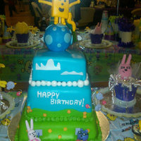 Wow Wow Wubbzy!   Dominican cake with pineapple filling, chocolate cake with vanilla b.c, and tie-dye cake with vanilla b.c.. All fondant decorations! TLF