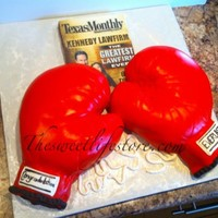 Boxing Glove Cakes And Brownie Magazine this cake was for a client that made the cover of texas monthly the gloves are cake the magazine is a brownie with edible paper :)